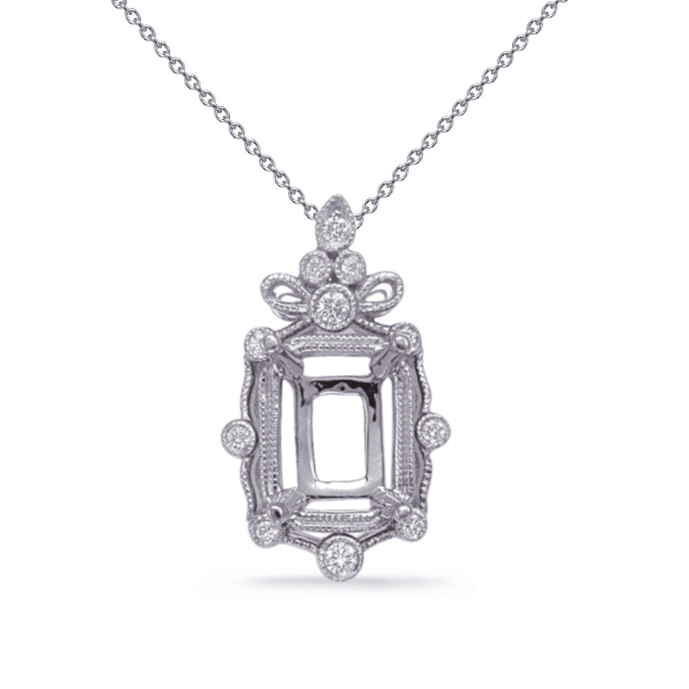 White Gold Diamond Pendant 8x6 EC Center