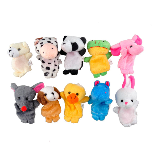 10 pcs/lot Animal Finger Puppets Plush Toy