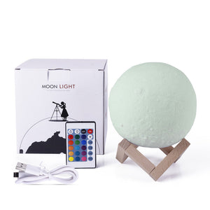 Moon Lamp 3D LED Light 16 Colors with Remote Touch Control