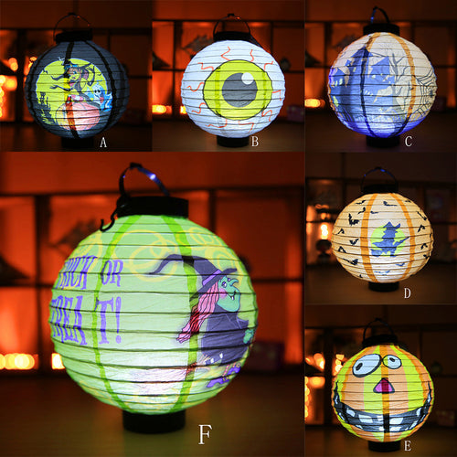 LED Paper Lantern Pumpkin Light Paper Hanging Light Halloween Party Decoration