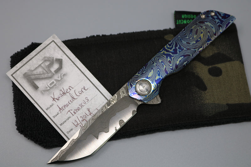 Koenig Arius Contoured Smooth Carbon Handle & Ti Bead Blasted Lock Side w/ DLC Blade & Polished Hardware Blue Ano Clip