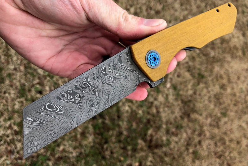Brian Brown Yeager #3 Vintage Westinghouse Barked Titanium Scales w/ Timascus accents and Satin AEB-L Blade