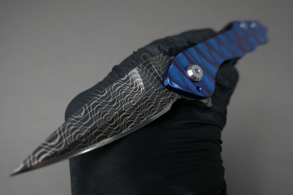 Scorpion Six Veps #21 Spirograph Damascus Blade with Sculpted Ano Handles Ti Hardware Zircuti Clip