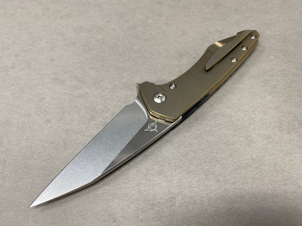 Koenig Mini Goblin Black Micarta Satin Flats Burnished Blade Satin Hardware & Bronze ano Lock Side