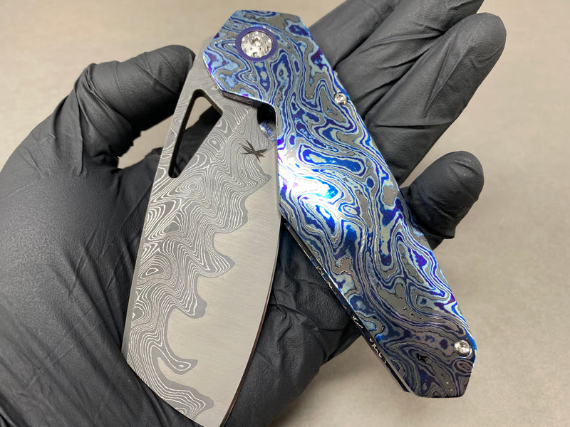 Keanison Knives Full Timascus Alpha with Dark Etch Damscus Blade