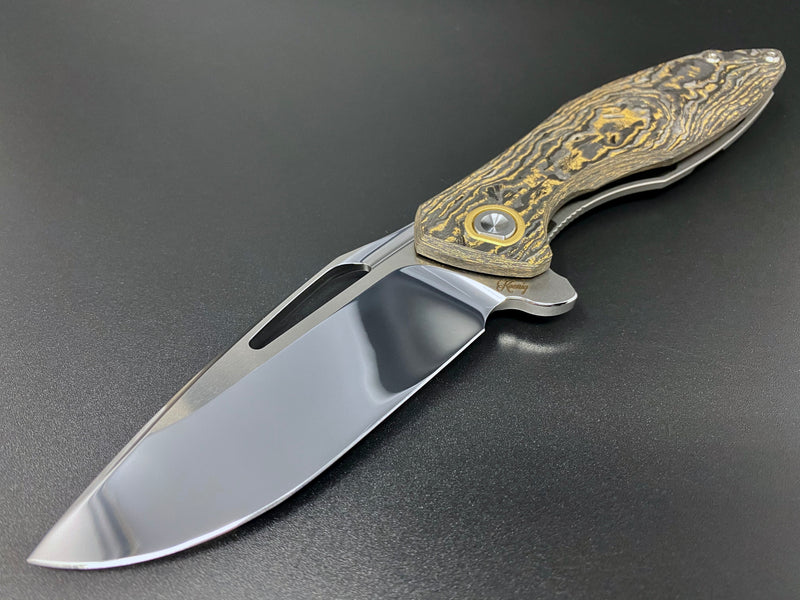KOENIG KNIVES X SHARKNIVE CO. MINI GOBLIN Ti WITH POLISHED FLATS