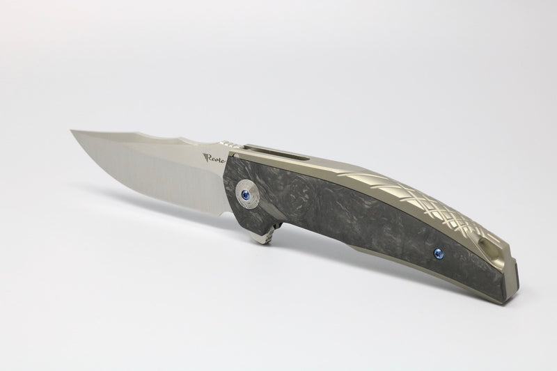Reate J.A.C.K. Marbled Carbon Inlay Grey Ti Handle M390 Satin Blade