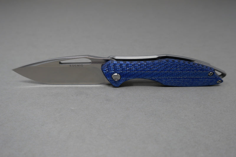 Arius Blue Carbon Twill Flipper Delete with Burnished Blade & Satin Flats
