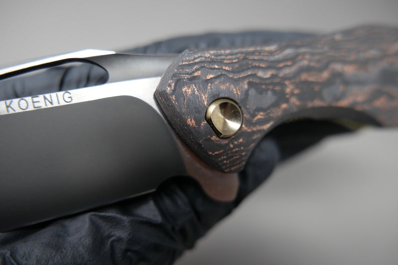 Arius Marbled Carbon Copper Dust Polished DLC Blade Satin Flats Satin Copper Hardware & Satin Copper Lockside