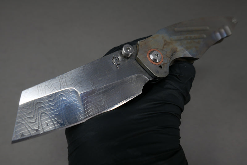 Scorpion Six Overfall #4 Spirograph Damascus Milled Acid Rain Anodized Handles Copper Pivot Collar