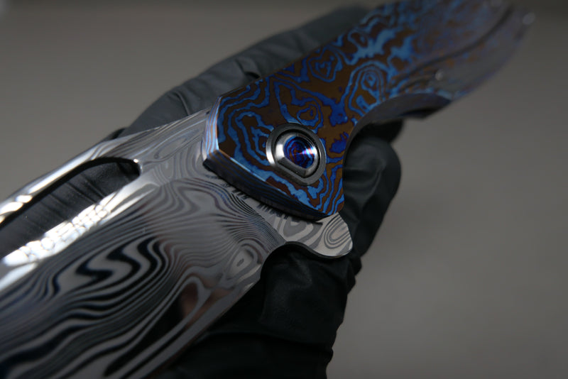 Arius Custom #1 of 1 Full Timascus w/ zirc Inlays Spacer and Clip Thor Damasteel Blade
