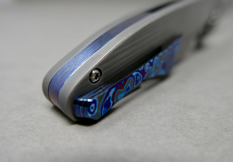 Keanison Stray #53 3V Satin Blade with Black Timascus backspacer and clip Zirc Pivot Collar