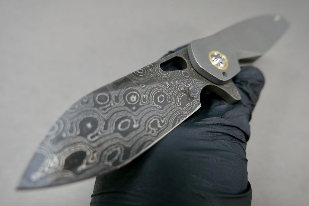 Keanison Stray #52 Vegas Forge Blade Stonewashed Ti Scales Bronze Pivot Collar & Backspacer