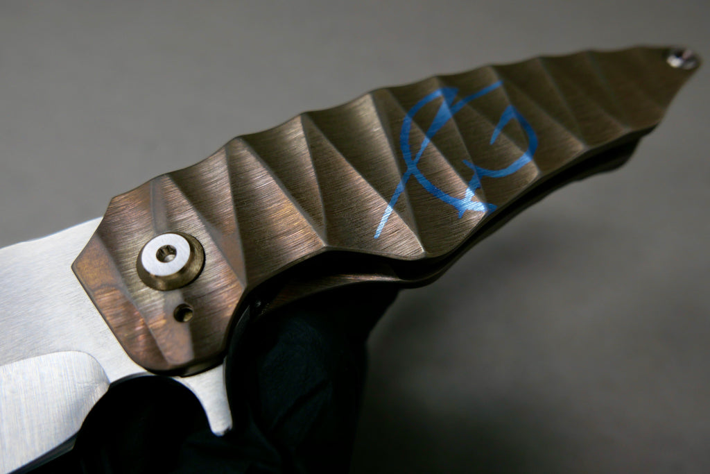 Scorpion Six Overfall #43 Nitro-V Satin Blade Sculpted Handles Tumble Ano finish with Ti Hardware