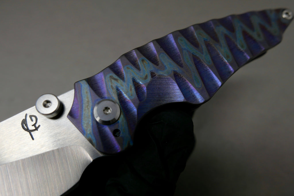 Scorpion Six Overfall #41 HXP Satin Blade Sculpted Ti flamed ano handles w/ Ti hardware