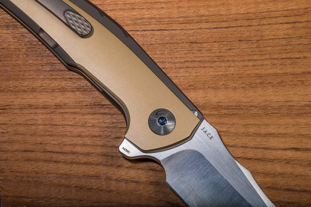 Reate J.A.C.K. Bronze Ti Handle Brass Inlay Bohler M390 Blade