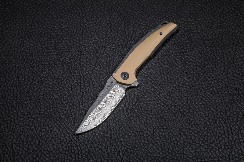 REATE JACK FLAME GRAIN HANDLE WITH DAMASTEEL HANDLE ACID WASH & MARBLE CARBON FIBER INLAY