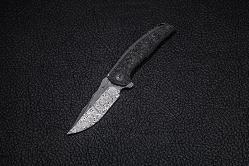 REATE JACK BLUE HANDLE WITH DAMASTEEL BLADE ACID WASH & MARBLE CARBON FIBER INLAY