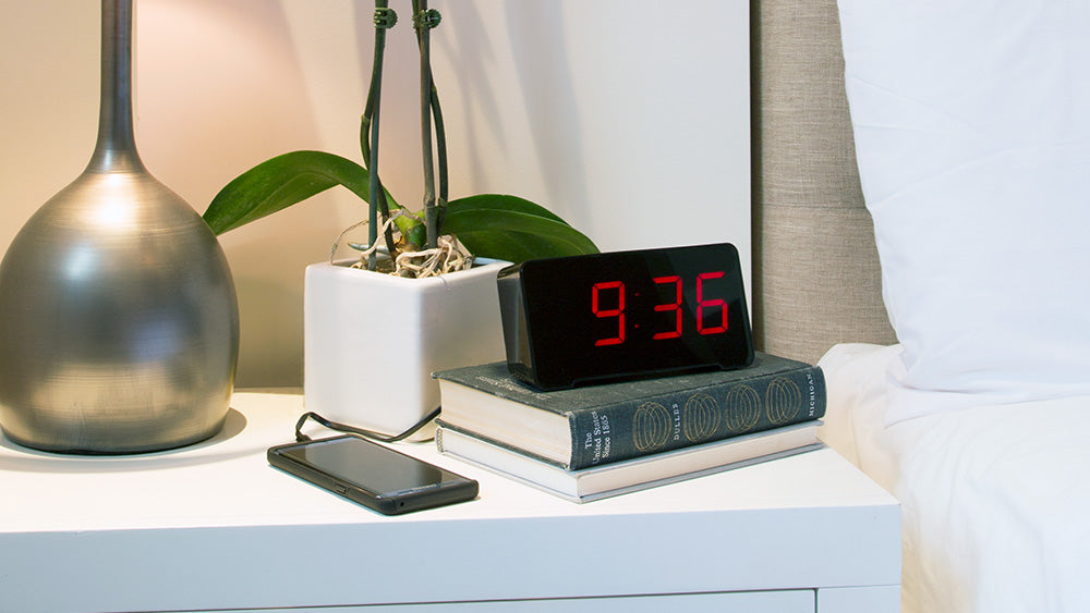 the neutral design blends into any decor or room bedroom living room kitchen or even guest room - Bedroom Clock