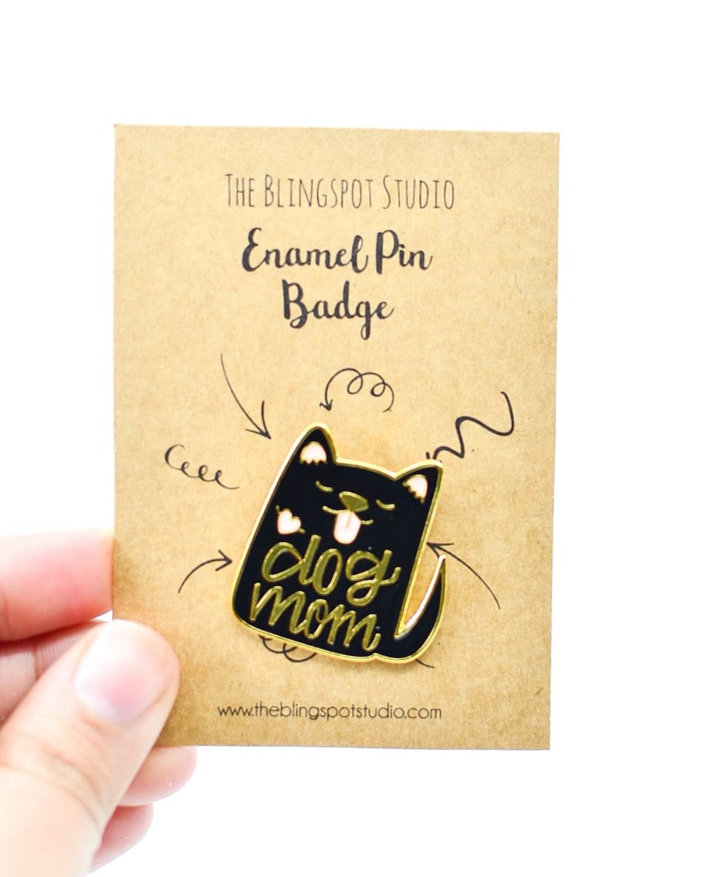 Dog Mom Black Enamel Pin