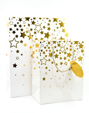 Dream Star White Gold Foil Gift Bag