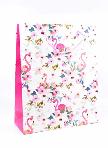 Flamingo Floral Glitter Gift Bag