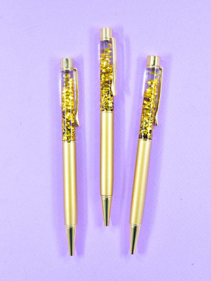 Golden Confetti Ball Pen
