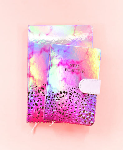 Pink - Stay positive HoloNeon Premium Hard Cover Journal