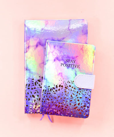 Purple - Stay positive HoloNeon Premium Hard Cover Journal