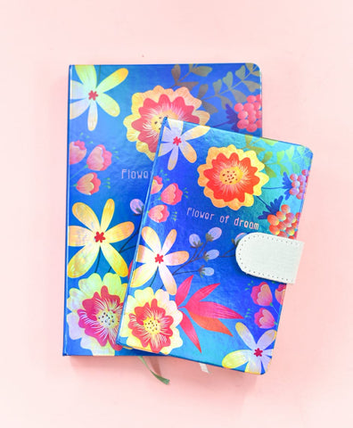 Blue - Flower of Dream HoloNeon Premium Hard Cover Journal