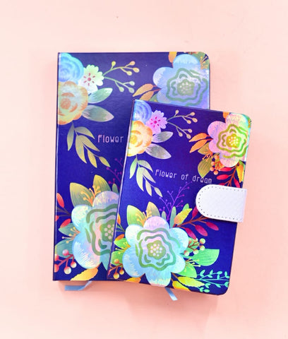 Navy - Flower of Dream HoloNeon Premium Hard Cover Journal