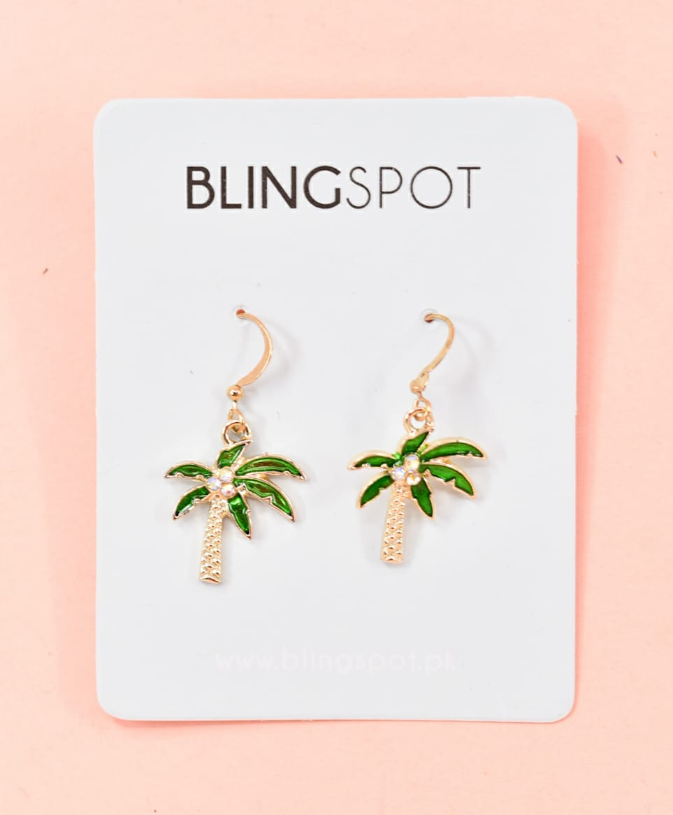 Dazzling Palm Tree Gold Drop Earrings
