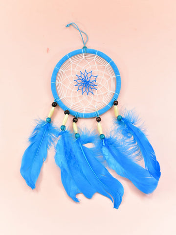 Dream Catcher Blue Feather Wall Hanging