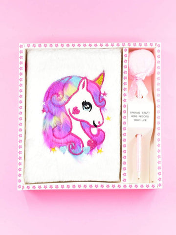 Cream Plush Unicorn - Diary Set