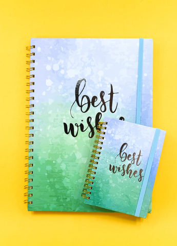 Water Color Wishes Premium Silver Foil Spiral Journal