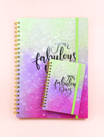 Water Color Fabulous Premium Silver Foil Gold Spiral Journal