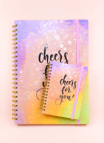 Water Color Cheers! Premium Silver Foil Spiral Journal