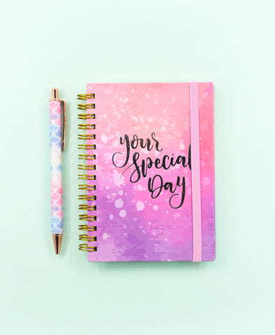 Water Color Special Day! Premium Silver Foil Spiral Journal