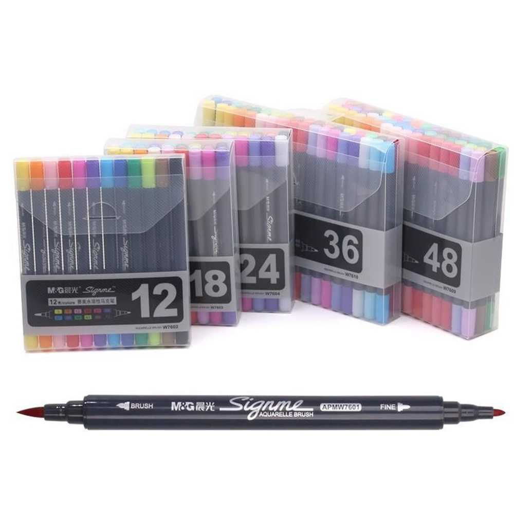 M&G AQUARELLE Brush Marker Dual Side Set of 12 & 18 & 24 & 36 & 48 Colors