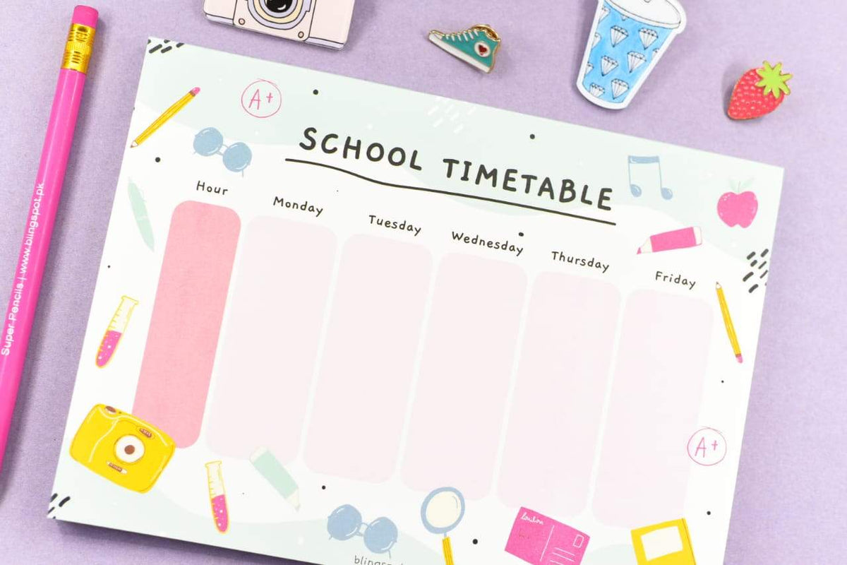 School Timetable Notepad