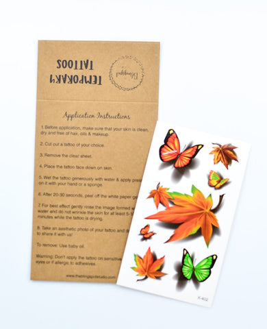 Autumn Leaves & Butterflies Temporary Tattoos