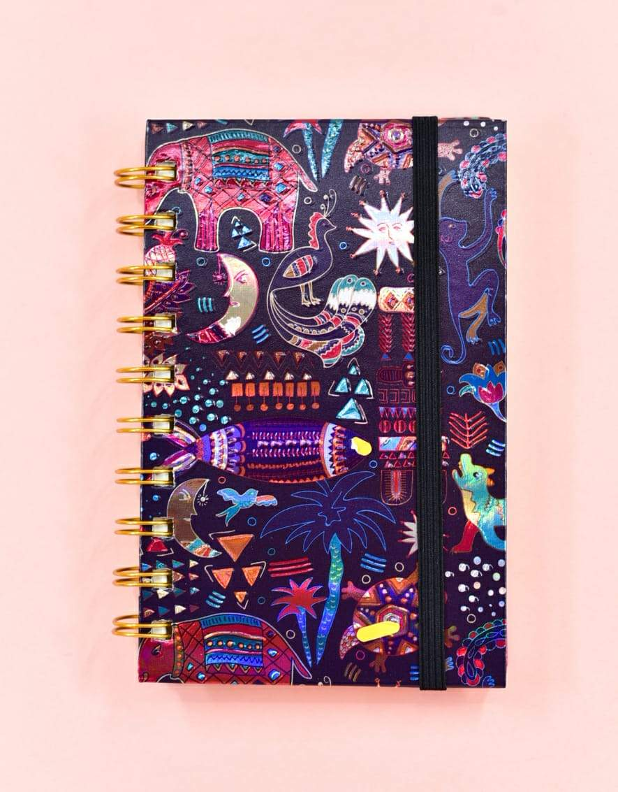 Traditional Abstract Embossed Spiral Journal