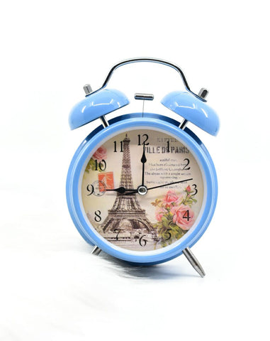 Retro Eiffel Tower Floral Desk Clock