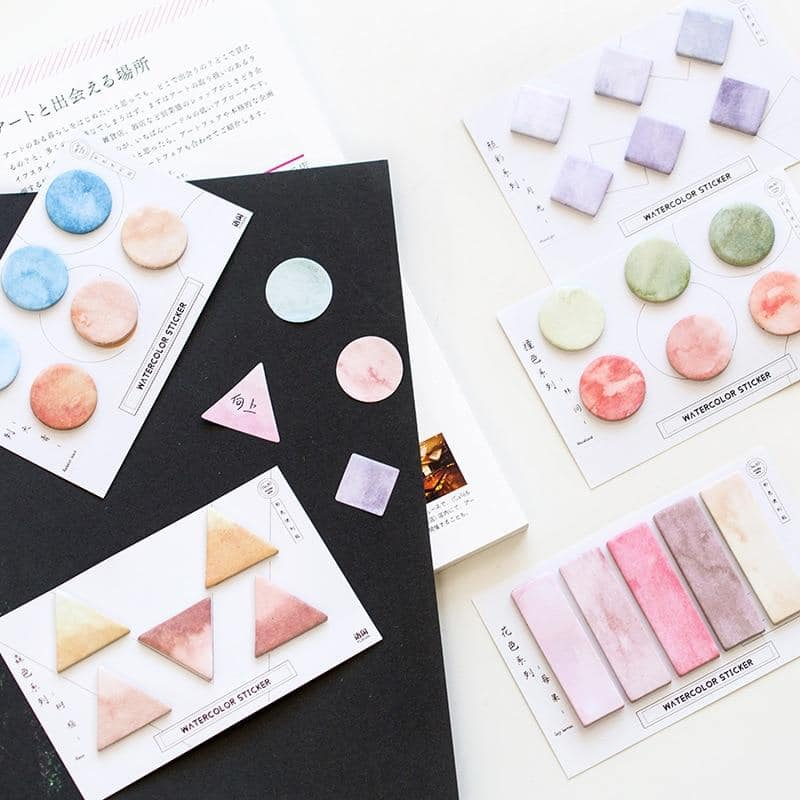 Water Color Square Round & Triangle Memo Pad Sticky Notes