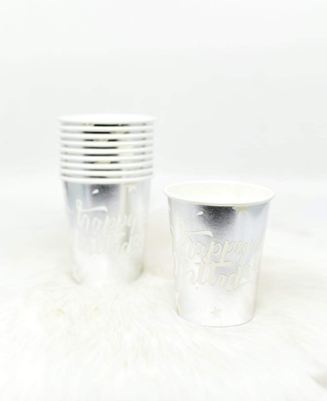 Happy Birthday Silver  Foil  Cup Set Of 10