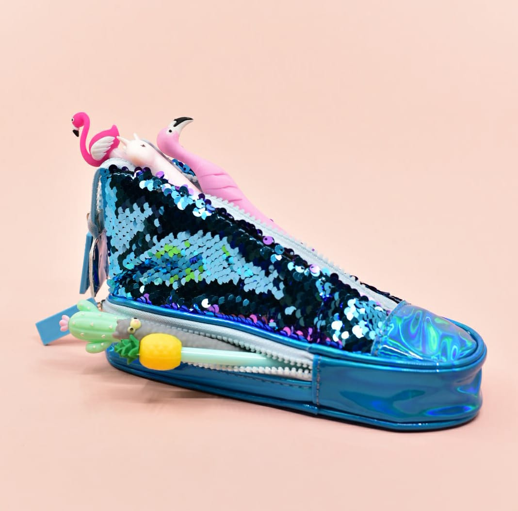 Blue Holographic Sequin Sneaker - Pouch