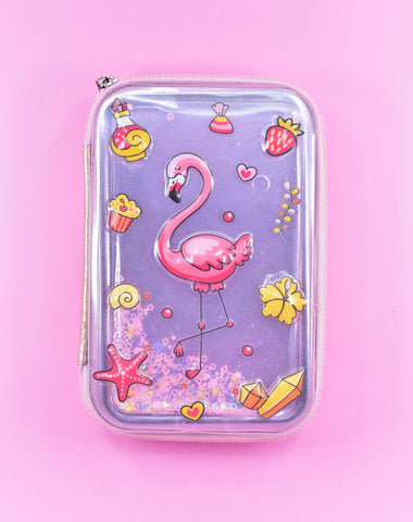 Flamingo Water Glitter Premium Hard-Case Zip Pouch