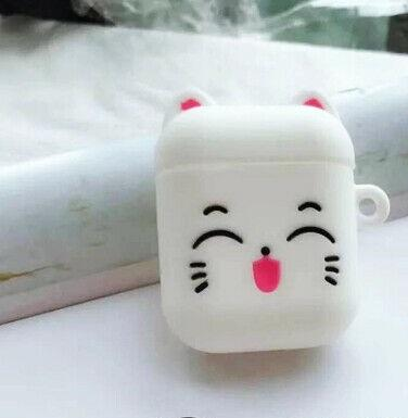 White Happy Cat  Air Pod 2 Cover