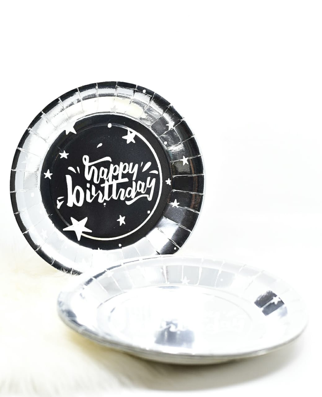 Happy Birthday Silver Plates Set Of 10