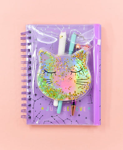 Cat Clear Pouch Spiral Notebook/Journal